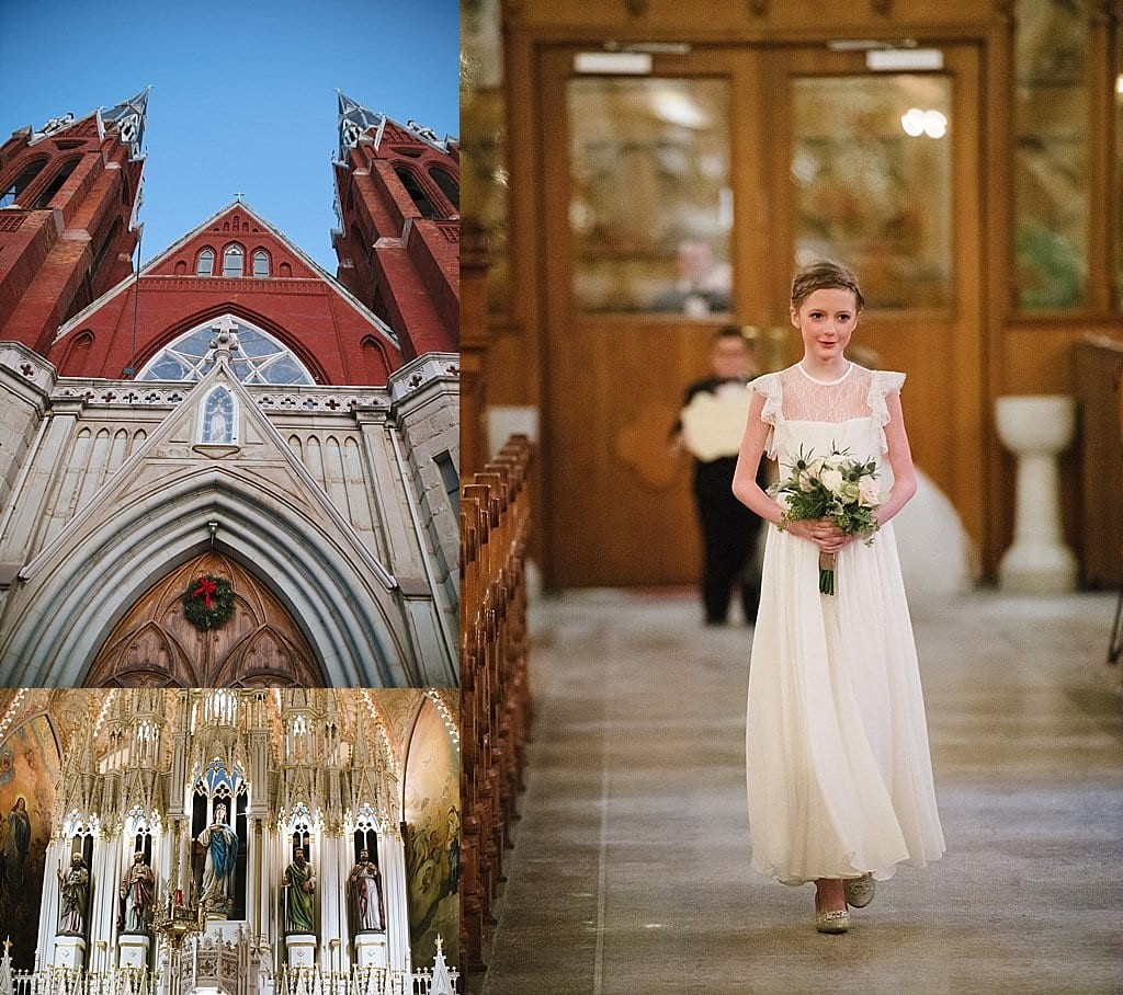Luxury wedding on New Years Eve at the Gem Theater Detroit and wedding ceremony at Sweetest Heart of Mary Church Detroit