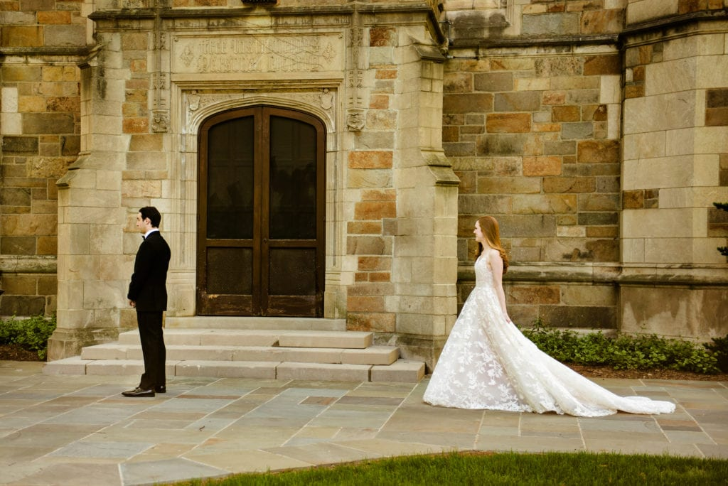 first look, university of michigan, ann harbor luxury wedding, simply brilliant events