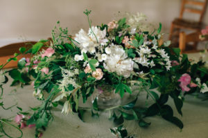 tablescape, gnome grown flowers