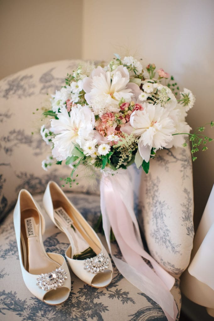 wedding shoes, bridal bouquet, simply brilliant events