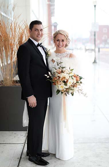 royal oak music theatre wedding, detroit wedding, couple outside on their wedding day