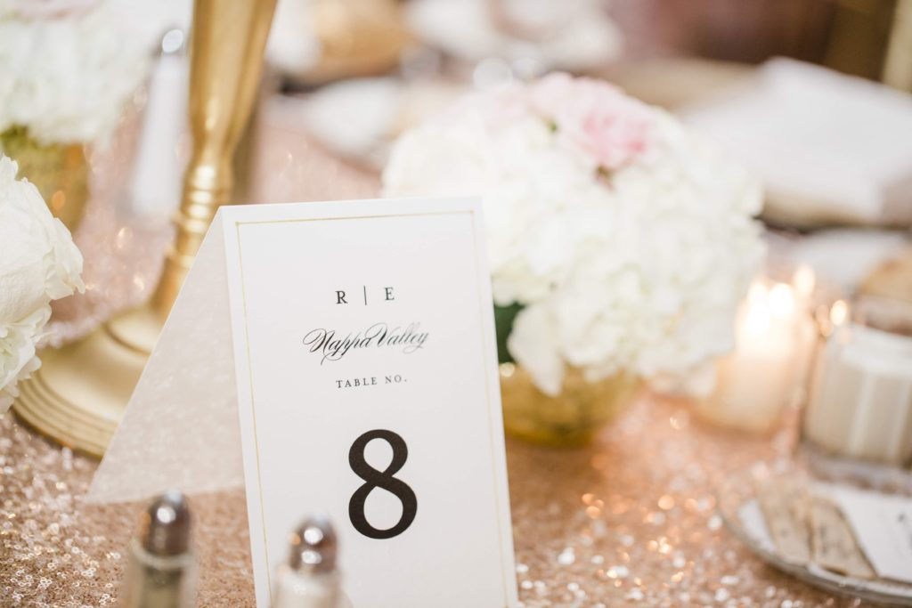 Luxury wedding with table numbers