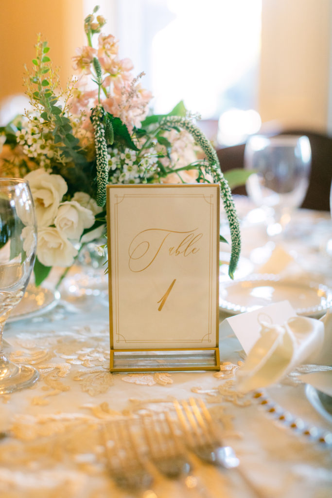 luxury table setting, simply brilliant events, wedding planner, gold framed table number for luxury wedding at The Whitney Detroit.  Whitney wedding