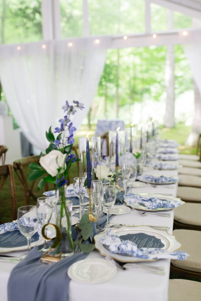 blue and white table at a wedding